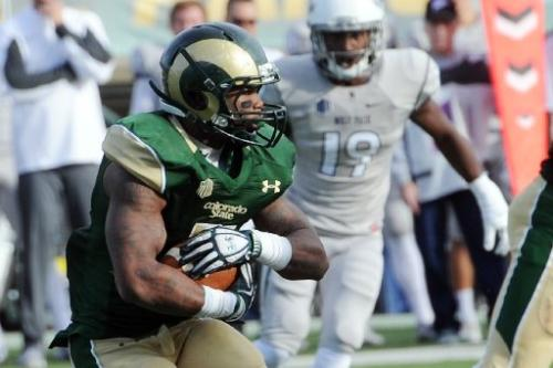 Colorado State running back Kapri Bibbs rushes for a chunk of his 312 yards vs Nevada this past weekend. Colorado State went on to win 38-17. (Photo via Steve Stoner/Reporter Herald)