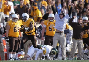 Blair Burns (20) has the potential to make a game changing play on defense, like he did on this play against CSU in 2012