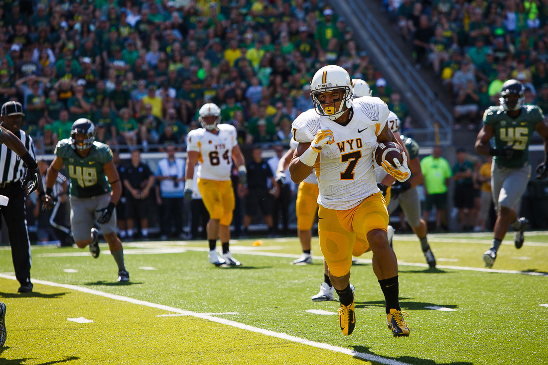 D.J. May (#7) is one Wyoming's big play threats to keep an eye on Saturday.