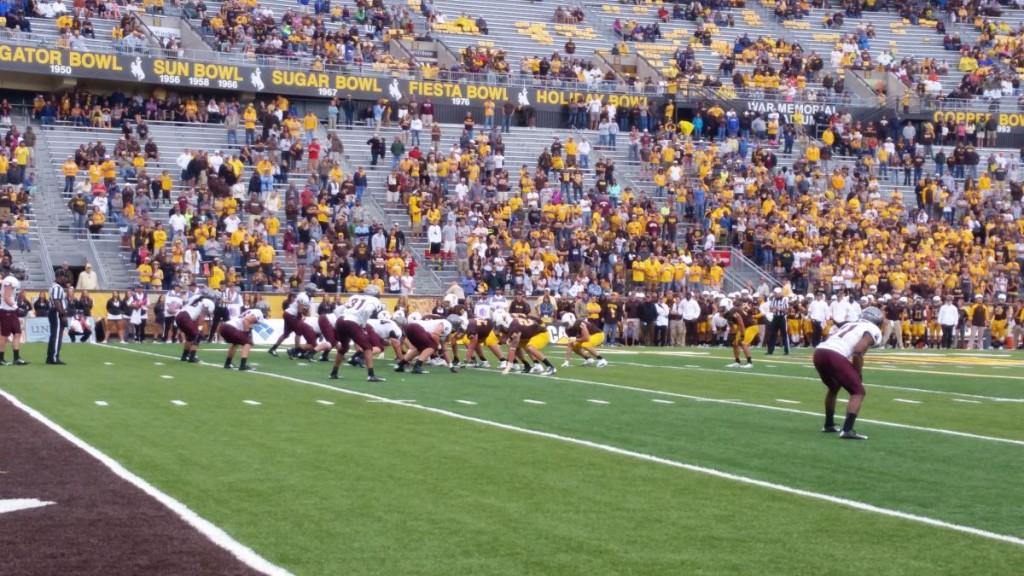 The Wyoming Cowboy offense puts the finishing touches on a drive late in the 4th quarter to seal a win for Wyoming. The Pokes made head coach Craig Bohl's Wyoming debut a success, winning 17-12 over FCS Montana on Saturday.
