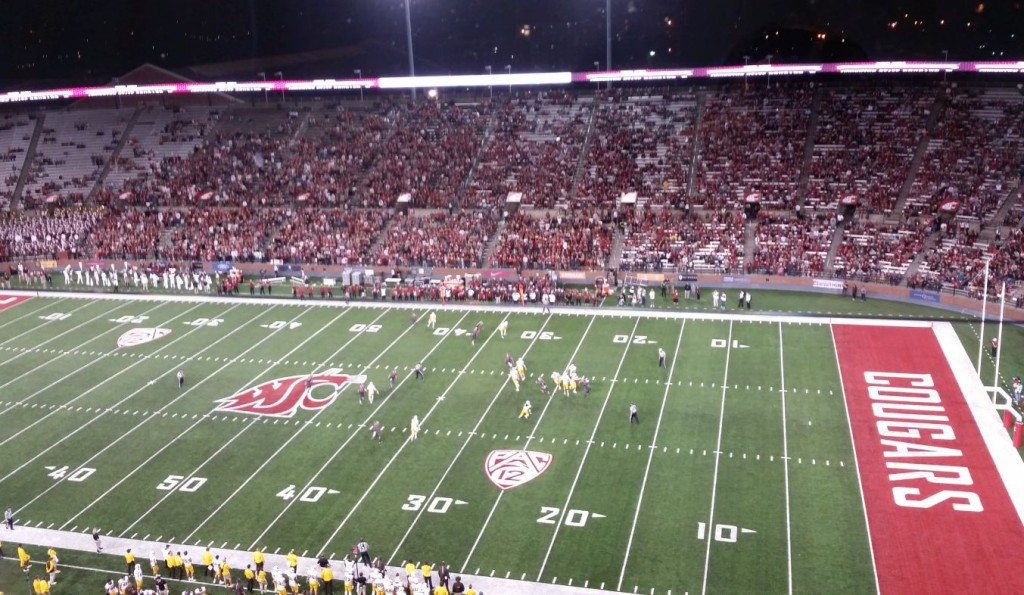 Wyoming traveled to Pullman, WA to take on the Washington State Cougars on Saturday night. The Cowboys lost the game against their PAC12 opponent 31-14. Above, a crowd of 31,105 looks on Saturday night.