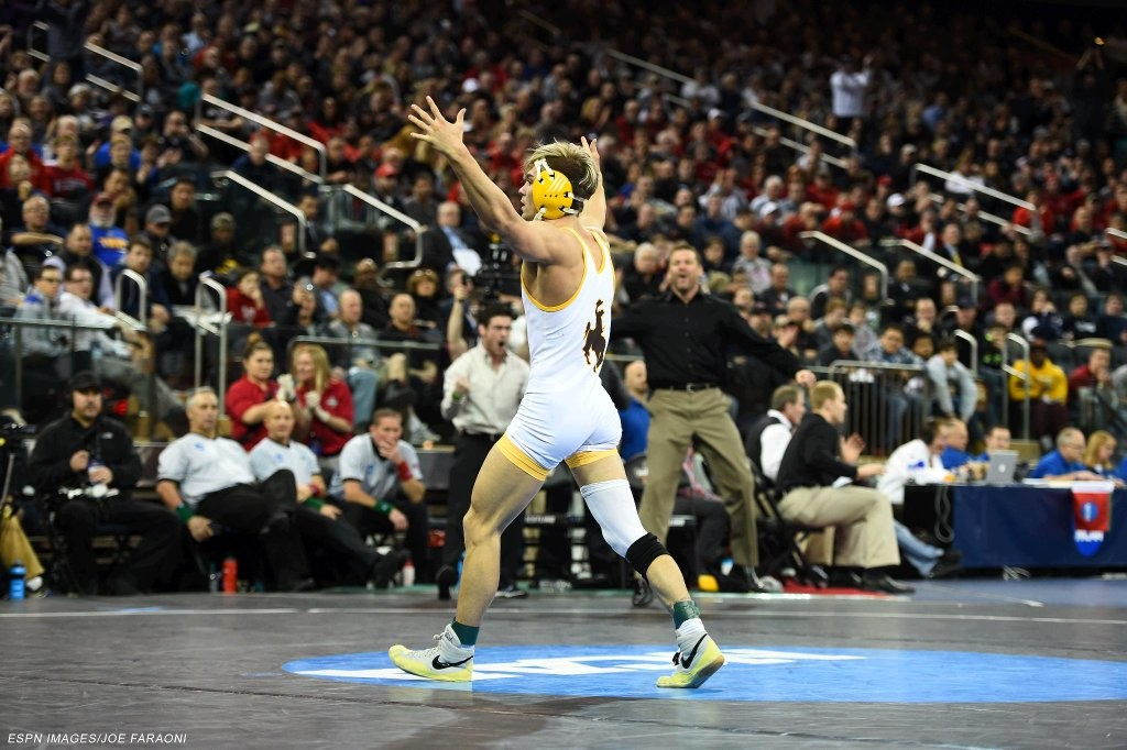 Cowboy wrestler Bryce Meredith earned All-American status on Saturday, and was the first Cowboy since 1996 to wrestle for a championship. (Photo via Joe Faraoni/ESPN Images)
