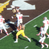 Wyoming Cowboy Josh Harshman catches his first touchdown against New Mexico last season. Harshman will add needed depth at the tight end position this coming season. (Photo via County10.com)