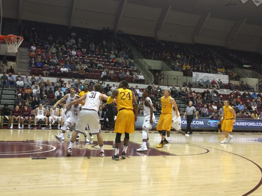 Cowboy senior Jason McManamen sinks a free throw in the first half of the Cowboys' victory over Montana.